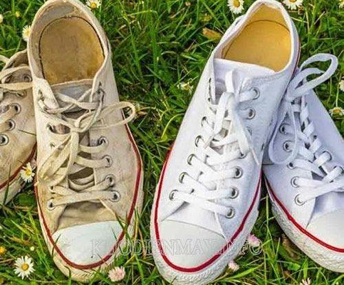 làm sạch giày vải không cần giặt